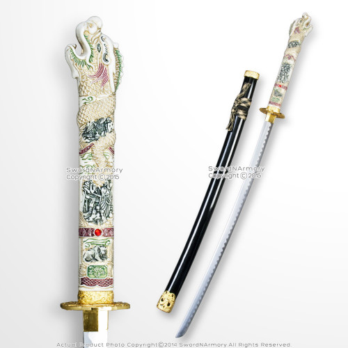 Open Mouth Highlander Dragon Samurai Katana Sword w/ Black Scabbard Gold Fitting