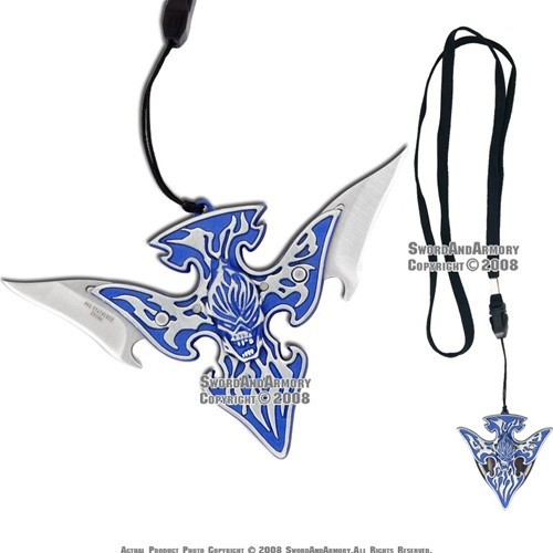 Hell Fire Necklace Key Chain Fantasy Double Blade Knife