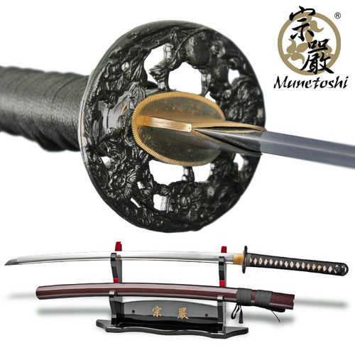 Munetoshi LionDog 1060 DH Handmade Differentially Hardened Samurai Katana Sword Red Saya