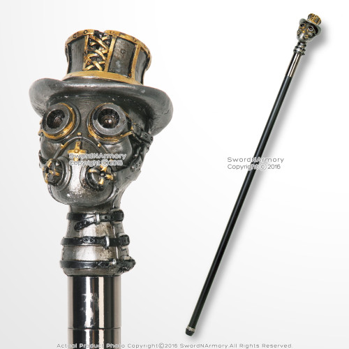 "37"" Steampunk Deacon Gas Mask Top Hat Handle Gentlemen's Walking Cane Stick"