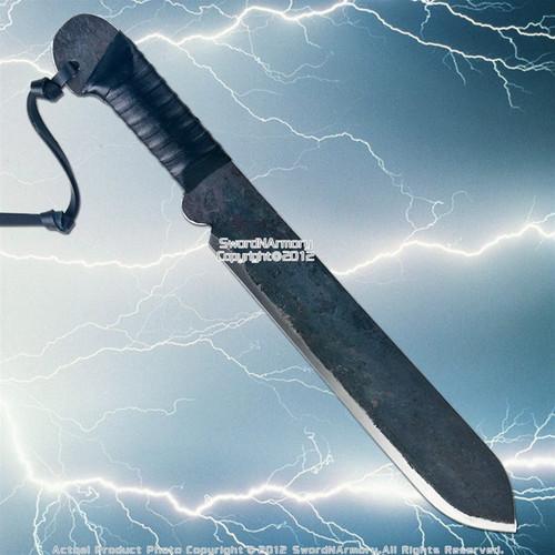 Blackened Carbon Steel Machete Battle Ready Short Sword Dagger Fixed Blade Knife