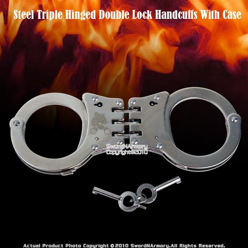 Steel Triple Hinged Double Lock Handcuffs With Case 1