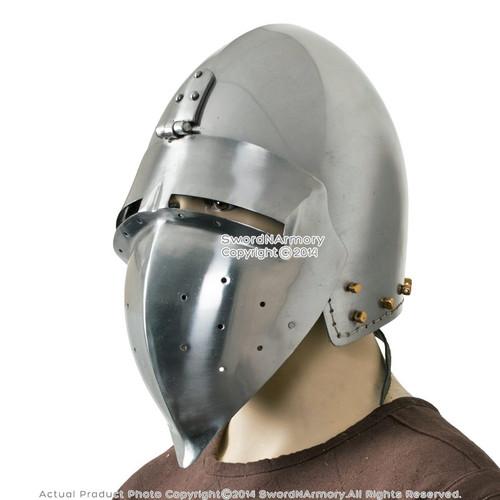 Functional Medieval Helmet Combat Bascinet with Klapvisor 16G Steel SCA LARP