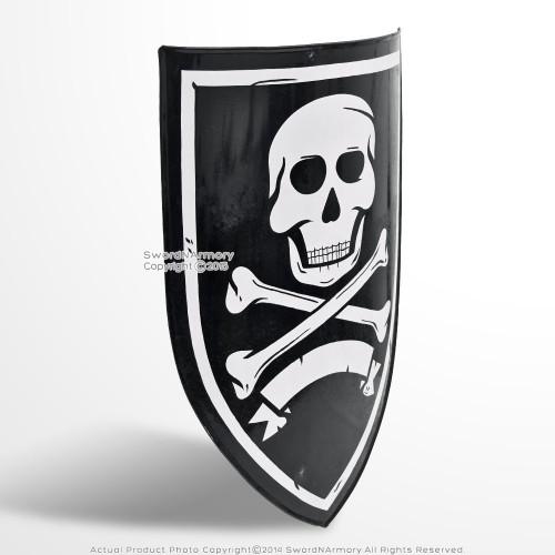 "28"" Caribbean Pirate Skull and Bone Heater Shield 18G Steel w/ Grip LARP Cosplay"
