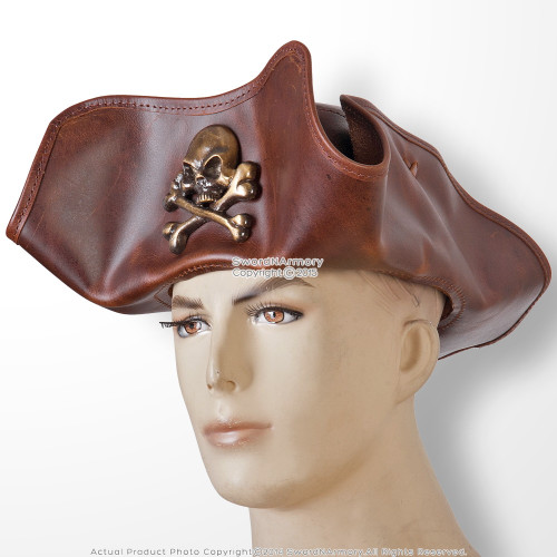 Antique Look Leather Pirate Tricorne TriCorner Hat Renaissance Costume LG Size