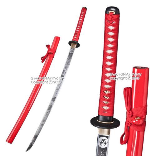 Red BIOHAZARD Z Apocalypse Katana Sword Zombie Printed Along Sharp Blade & Scab