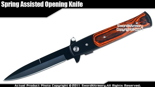 Stiletto Assisted Opening Folding Knife Pakkawood Black