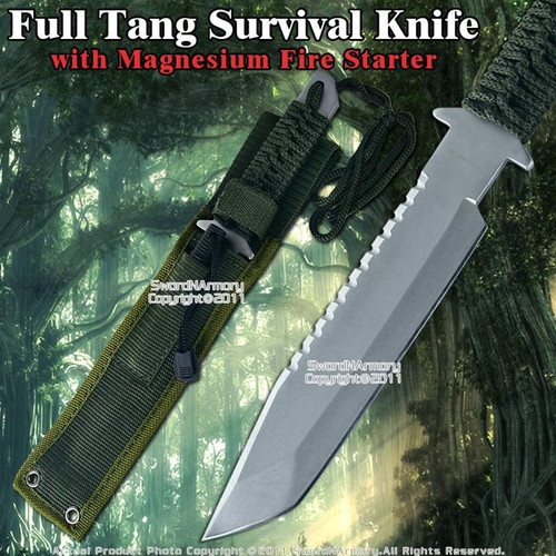 Survival Tactical Knife with Magnesium Fire Starter