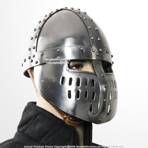 Functional Norman Faceplate Spangenhelm 16G Steel Viking Helmet SCA WMA LARP