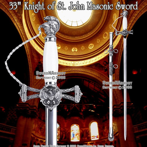"33"" Templar Knight of St. John Crusader Masonic Sword"