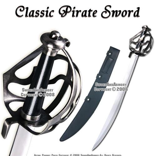 Caribbean Pirates Cutlass Sword Sabre With Basket Guard