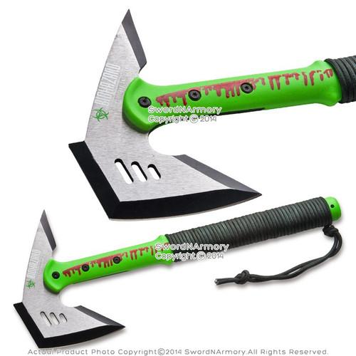 "16"" Biohazard Zombie Green Killer Axe Solid Fantasy Ax w/ Paracord Wrap Handle"