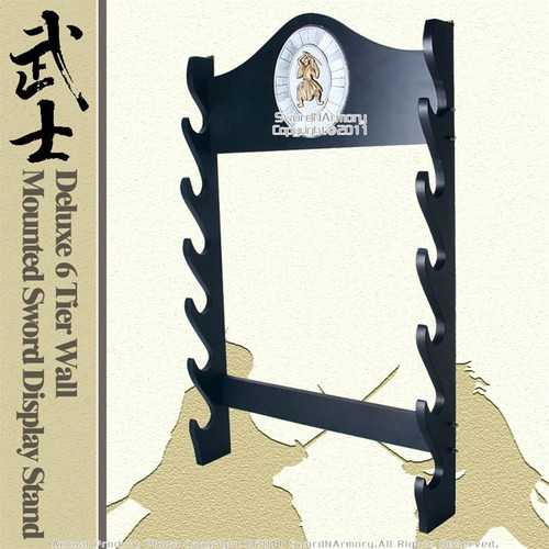 Deluxe 6-Tier Wall Mounted Sword Display Stand With Samurai