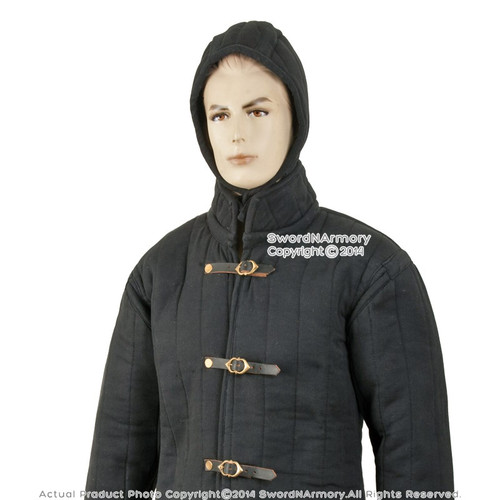 Black Gambeson Type IV Medieval Padded Armour Coat SCA LARP Arming Jacket