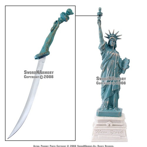 """12"""" Tall Statue of Liberty with Letter Opener Great Gift New York Souvenir"""