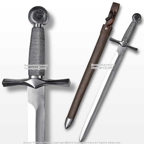 Medieval Fencing Carbon Steel Knightly Dagger w/ Wire Handle / Leather Scabbard
