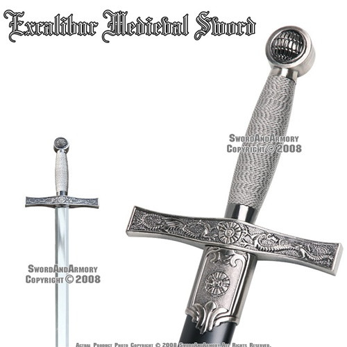 "35"" Excalibur Medieval Crusader Sword With Sheath"