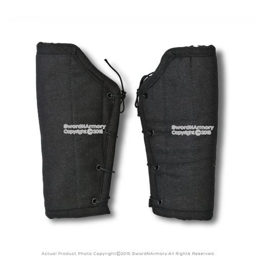 Black Cotton Arm Protector Padded Bracers Medieval Renaissance Costume SCA LARP