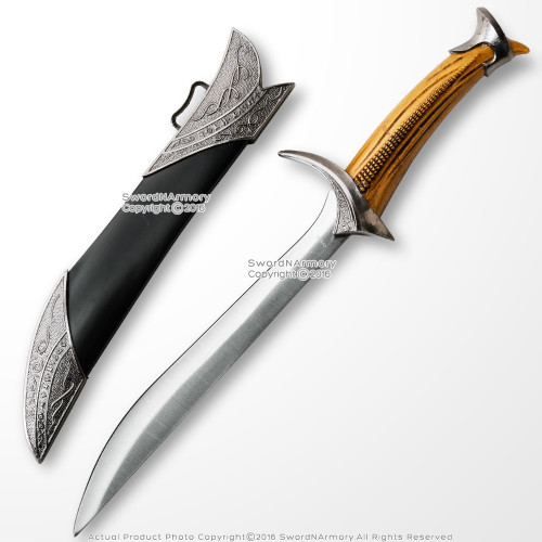 "10"" Elven Miniature Letter Opener Fantasy Short Sword Dagger Knife with Sheath"