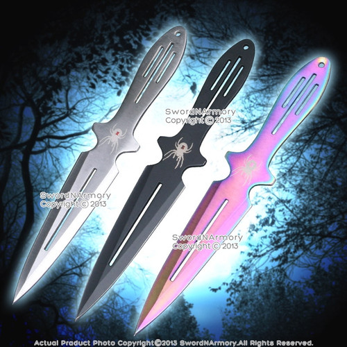 """9"""" 3 Pcs Set Assorted Colors Throwing Knives Black Widow Throwers  w/ Sheath"""
