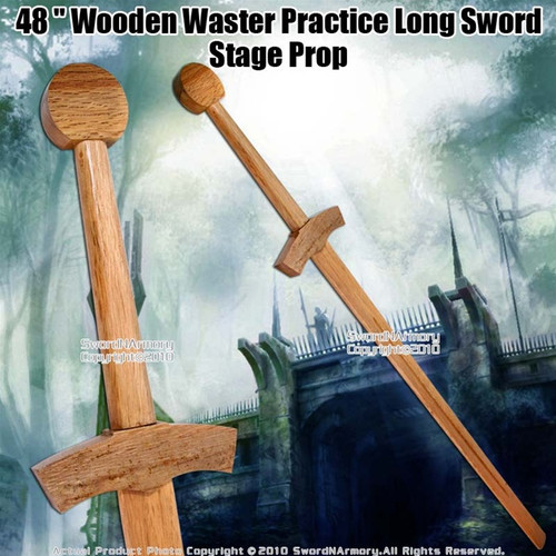 "48 "" Wooden Waster Practice Medieval Long Sword Stage Prop"