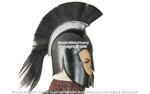 TROY Helmet Black Trojan With Stand Armor 300 Spartan Greek Medieval Costume