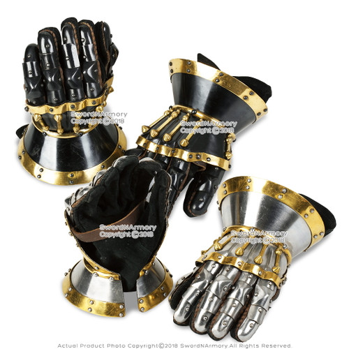 Functional Large 16G Steel Princely Hourglass Gauntlets Leather Glove SCA