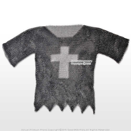 Black X-Large Medieval Chainmail Shirt Steel Butted Half Sleeve w/ Templar Cross