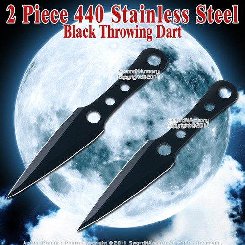 2 Pcs Black 8.75 Long V Shape Throwing Knives Dart Fixed Blade Knife with Sheath