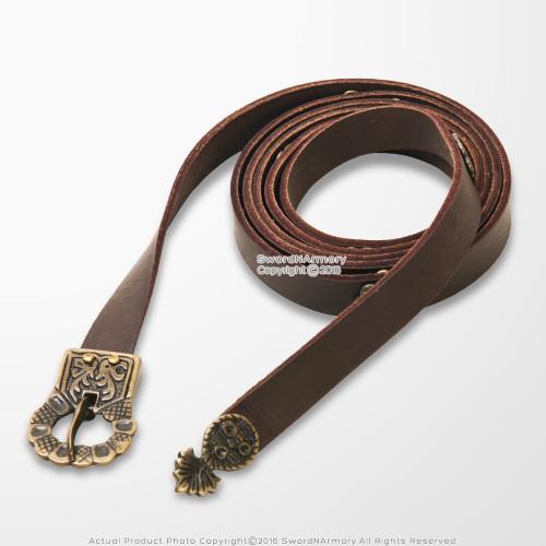 """74"""" Viking Double Wrap Long Belt Genuine Leather Medieval Renaissance LARP SCA Reenactment"""