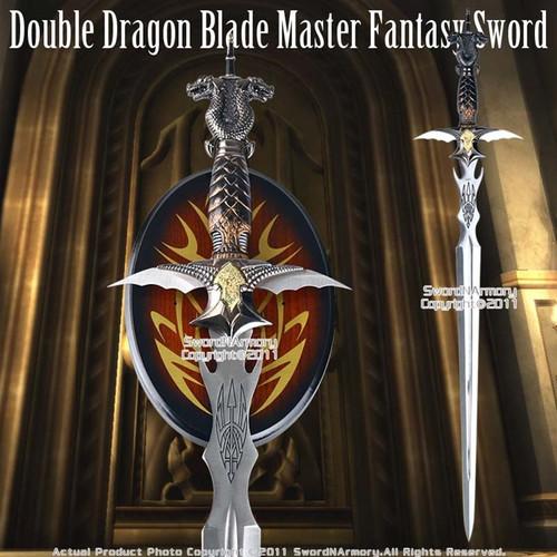 Double Dragon Blade Master Fantasy Sword Dagger Plaque