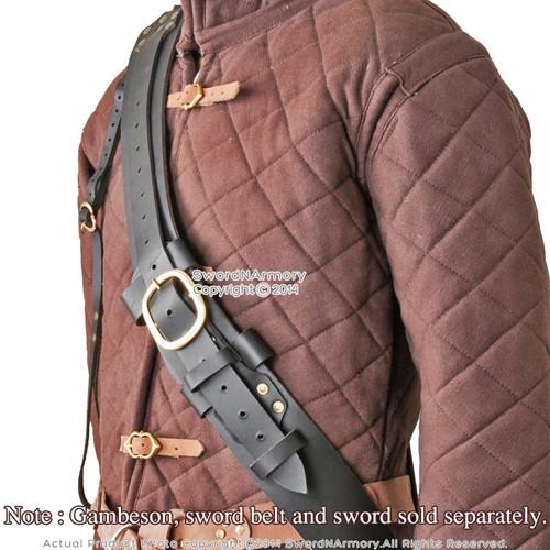 Genuine Leather Baldric for Medieval Long Sword Claymore Belt Frog Hanger