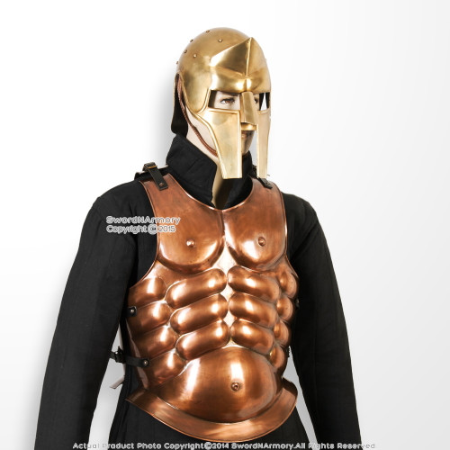 Greek Spartan Copper Coated  Steel Breast Plate Medieval Muscle Cuirass Armour