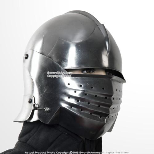 16G Steel Italian Sallet Medieval Functional Sparring Helmet WMA SCA LARP