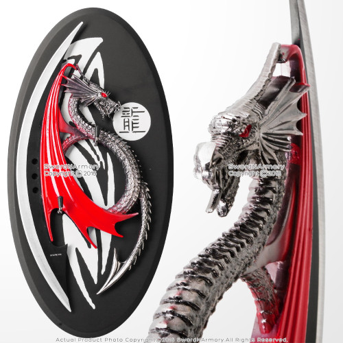"""11"""" Semi Circle Round Red Black Fierce  Dragon Dagger Knife with Display Plaque"""