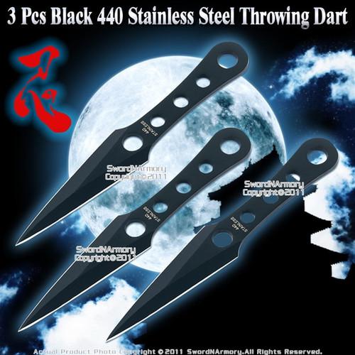 3 Pcs Black 440 Stainless Steel Throwing Dart w/ Sheath