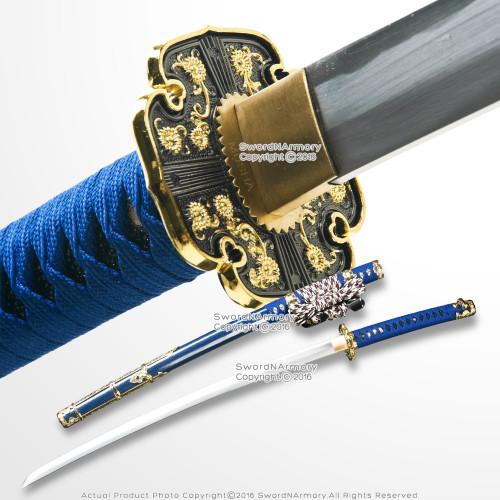 Musha Blue Japanese Style Tachi Ceremonial Katana Samurai Sword Sharp Blade