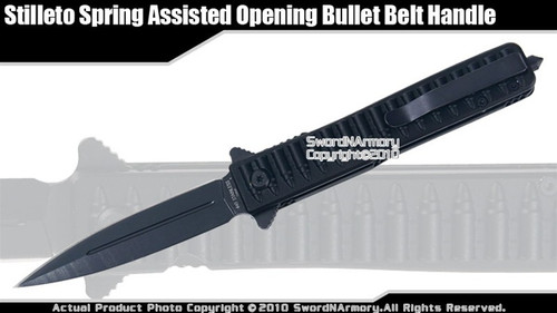 Stiletto Spring Assisted Opening Knife w/ Bullet Belt Handle