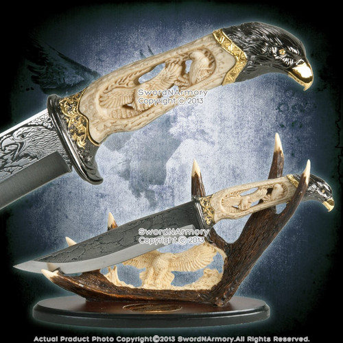 """13"""" Highly Decorative Eagle Knife Dagger with Eagle Head Pommel & Display Stand"""