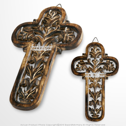 Wooden Burnt Antique Medieval Knight Cross Cutout Five Keychain Holder Rack Plaq Decorative Display