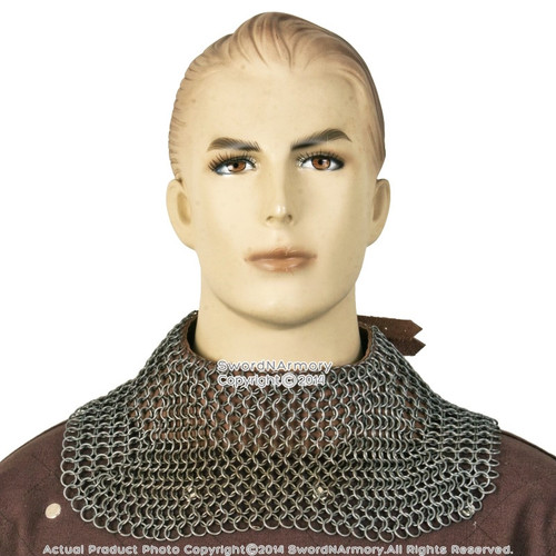 Medieval Chainmail Standard  Neck Protector w/ High Tensile Rings Leather Strap L