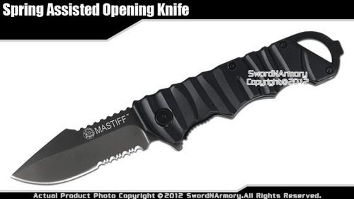 Mastiff Folding Spring Assisted Tactical Knife Titanium Coated 7CR17MOV Blade BK