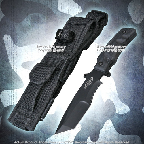 """10.5"""" Xtreme Tac Tanto Tactical Combat Fighting Knife w/ G10 Handle Belt Pouch"""
