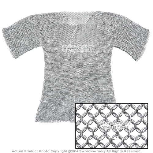 Large Medeival Chain Mail Haubergeon Half Sleeves Aluminum Butted LARP Costume