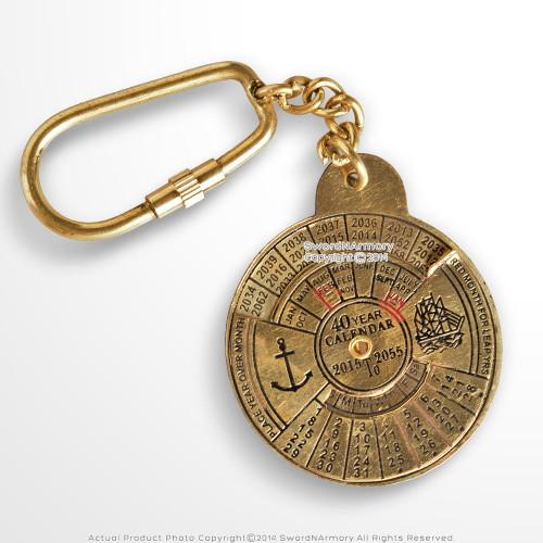 Handmade Brass 40 Year Calendar Auto Car Keychain Keyring Nautical Gift Souvenir