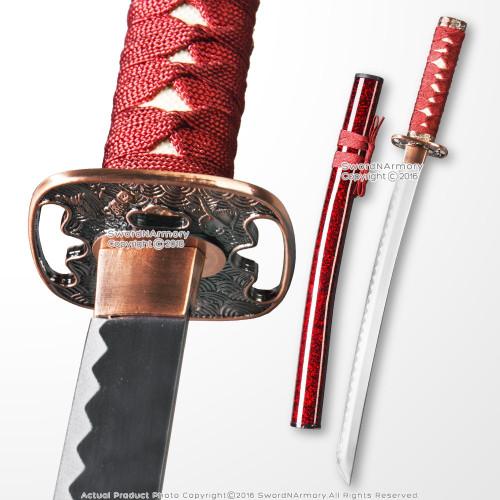 """24"""" Wakizashi size Japanese Style Samurai Sword Short Katana Decoration Red Saya"""