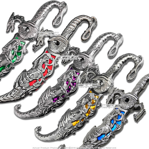 "9"" Fantasy Dagger Dueling Dragons Blade Long Fighting Decorative Display"