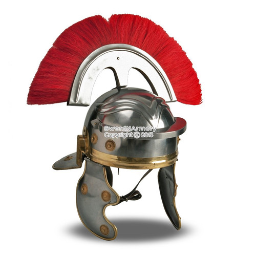 Wearable Roman Imperial Gallic Centurion Helmet w/ Red Crest & Liner LARP SCA
