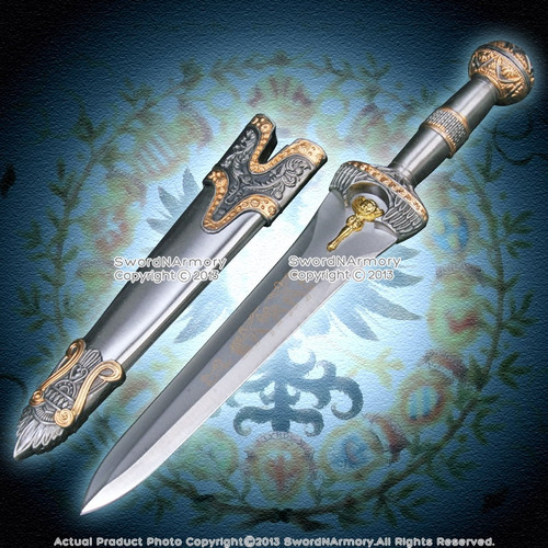 Roman Legion Soldier Short Sword Historical Dagger Round Pommel Blue Jewery LARP