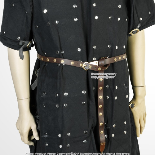 Medieval Renaissance Viking Celtic Leather Belt with Brass Rosette Costume LARP